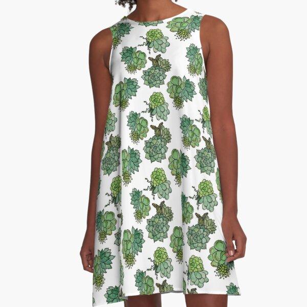 Fresh Succulent Pattern A-Line Dress