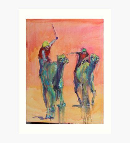 Camel races Art Print