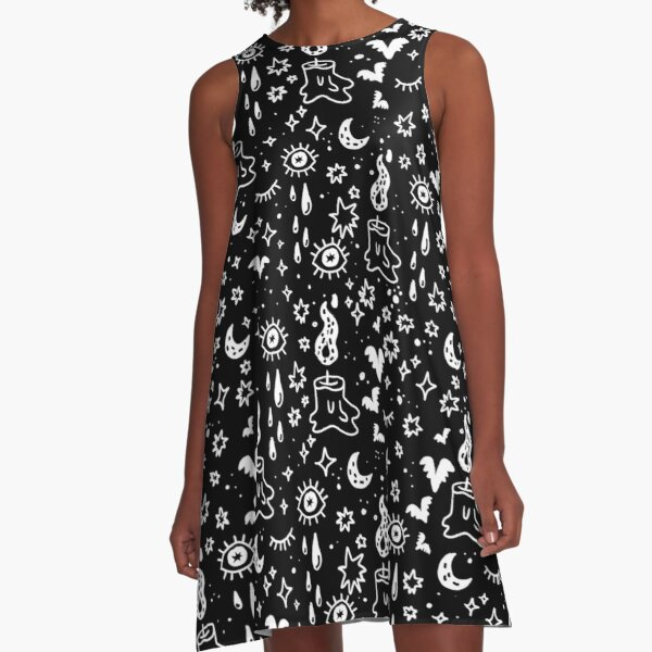 Black and White Spooky Cute A-Line Dress