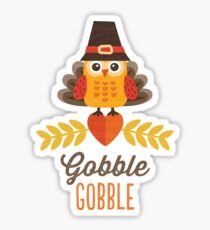 Thanksgiving Owl in Turkey Costume and Pilgrim Hat Sticker