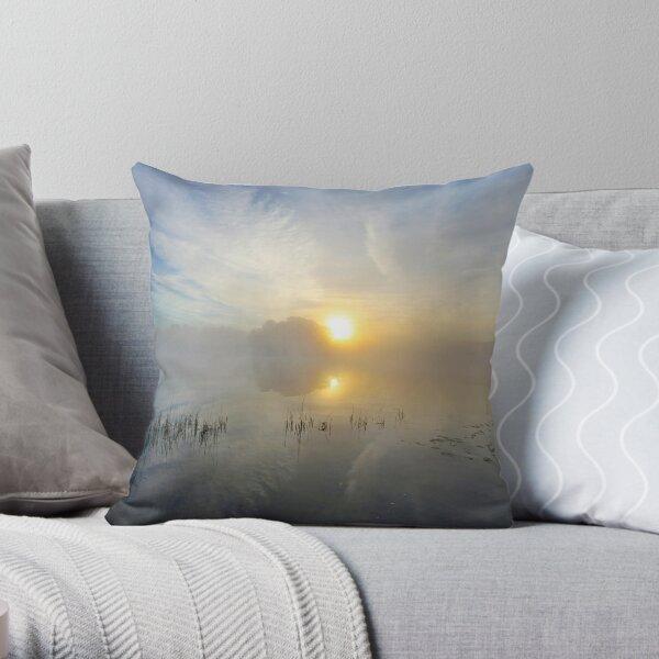 Upper Hudson River Misty Sunrise  Throw Pillow