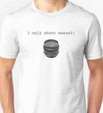"""I Only Shoot Manual"" T-Shirt, vintage manual lens 50mm T-Shirt"