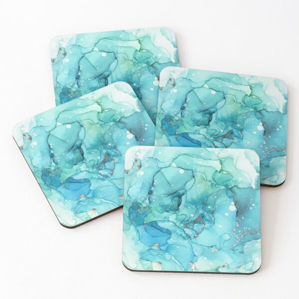 Mermaid Tears - Teal Chrome Abstract Ink Painting Coasters (Set of 4)