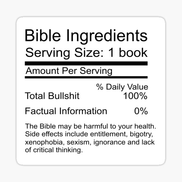 Bible Ingredients sticker Sticker