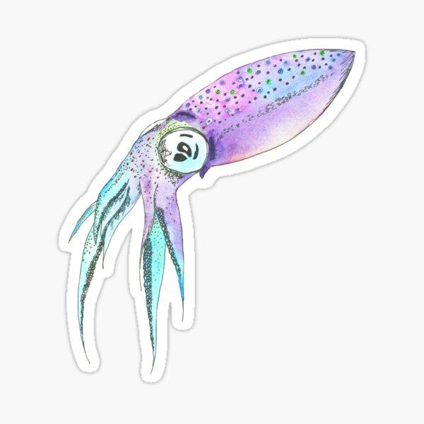 Technicolor Squid Sticker