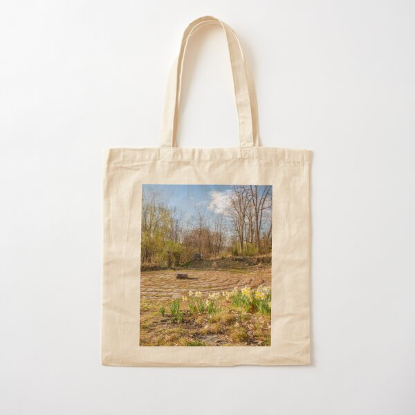 Daffodil-Lined Labyrinth Cotton Tote Bag