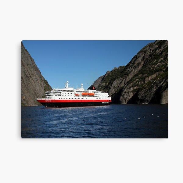 Hurtigruten Ship in Troll Fjord Canvas Print