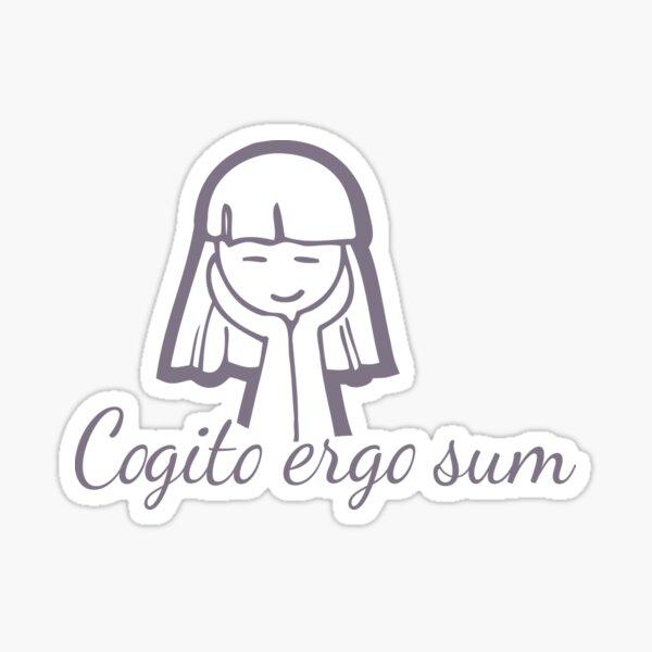 Cogito ergo sum grey girl graphic on pink Sticker