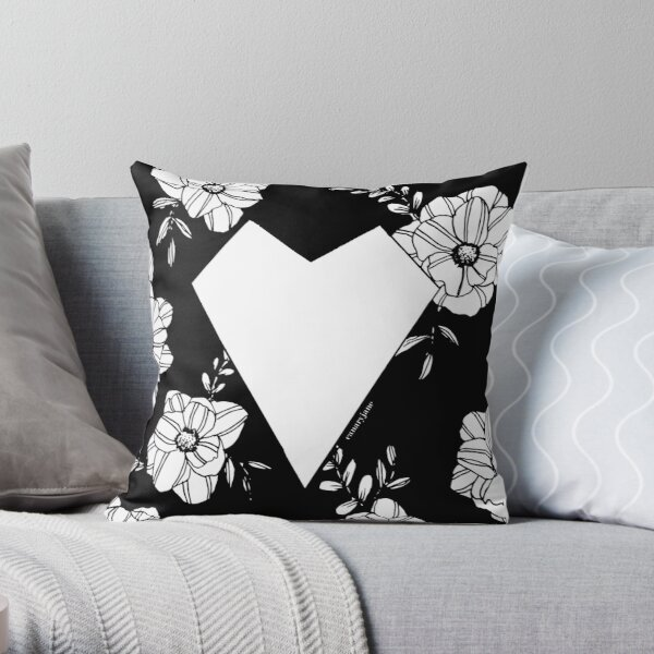 Geometric Heart on Florals Throw Pillow