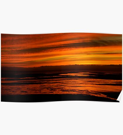 Red (Allonby Beach Cumbria, Sunset) Poster