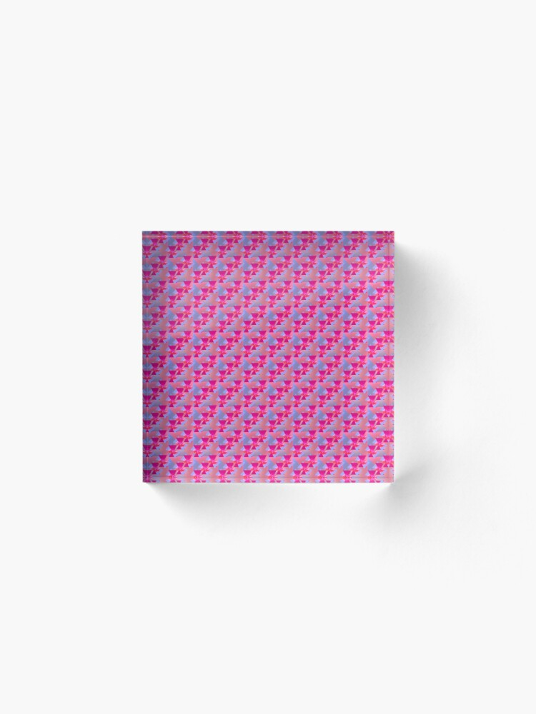 Alternate view of Happiness is Pink -  Colorful  Floral Geometric Pattern Acrylic Block