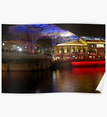 Blue canopy and river water at Clarke Quay in Singapore Poster