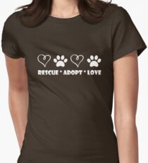 Rescue * Adopt * Love Womens Fitted T-Shirt