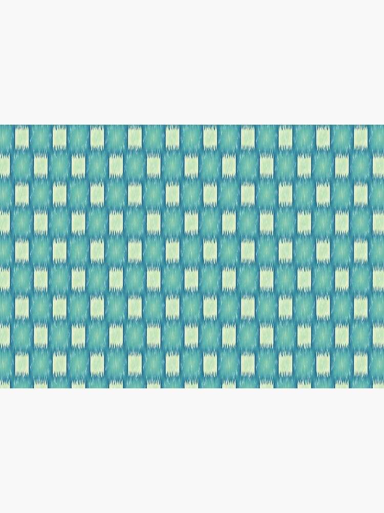 Ikat Teal and Light Blue Green Fabric Checkered Pattern  by RootSquare