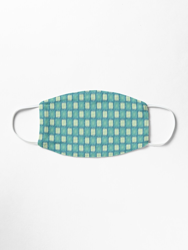 Alternate view of Ikat Teal and Light Blue Green Fabric Checkered Pattern  Mask