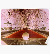 Pool Water Fountains Orange Outdoor Poster