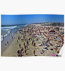A high res photo on the day of the surfing final Aug 5, 2012 view north from pier.   Poster