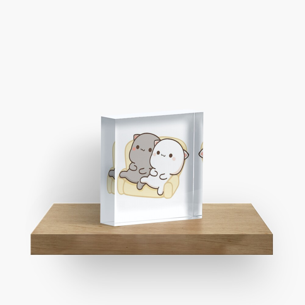 Peach and Goma Mochi Cat Couch Potato Acrylic Block