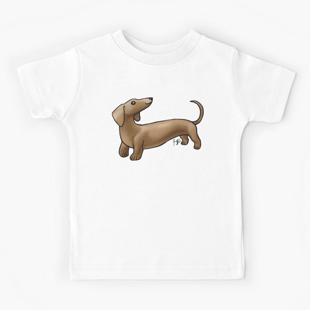 Smooth Coat Dachshund - Brown Kids T-Shirt