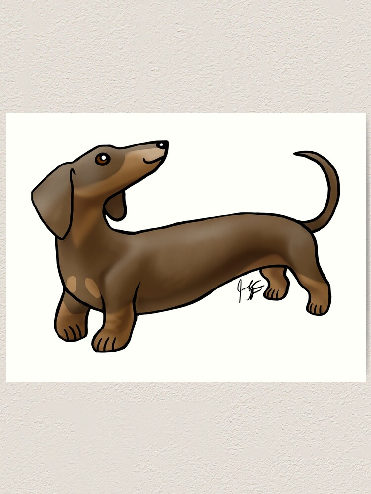 Alternate view of Smooth Coat Dachshund - Brown and Tan Art Print