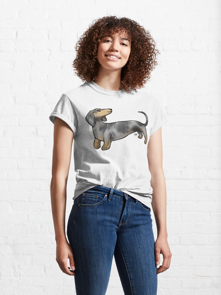 Alternate view of Smooth Coat Dachshund - Dappled Classic T-Shirt