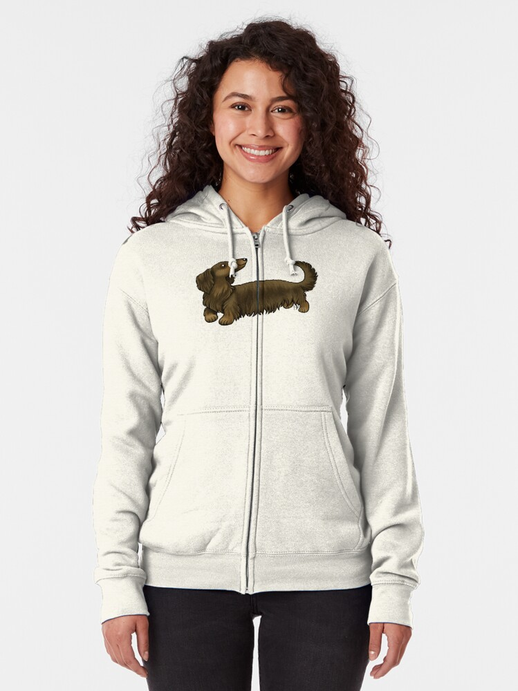 Alternate view of Long Haired Dachshund - Brown and Tan Zipped Hoodie