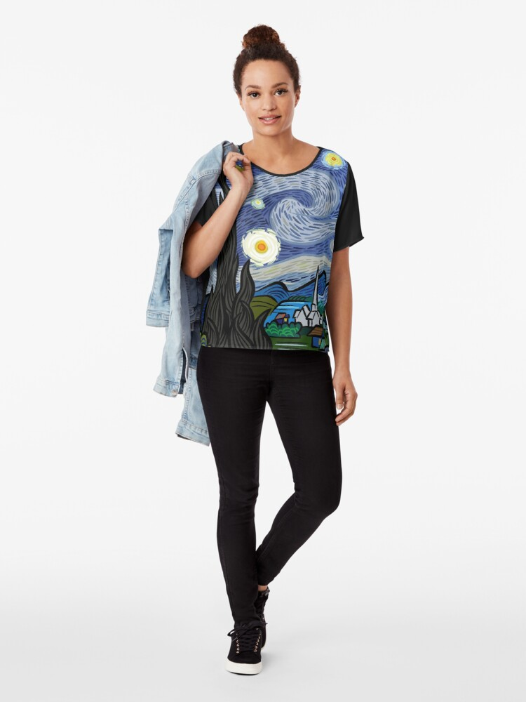 Alternate view of Starry Caricature Chiffon Top
