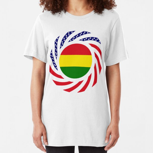 Bolivian American Multinational Patriot Flag Series Slim Fit T-Shirt