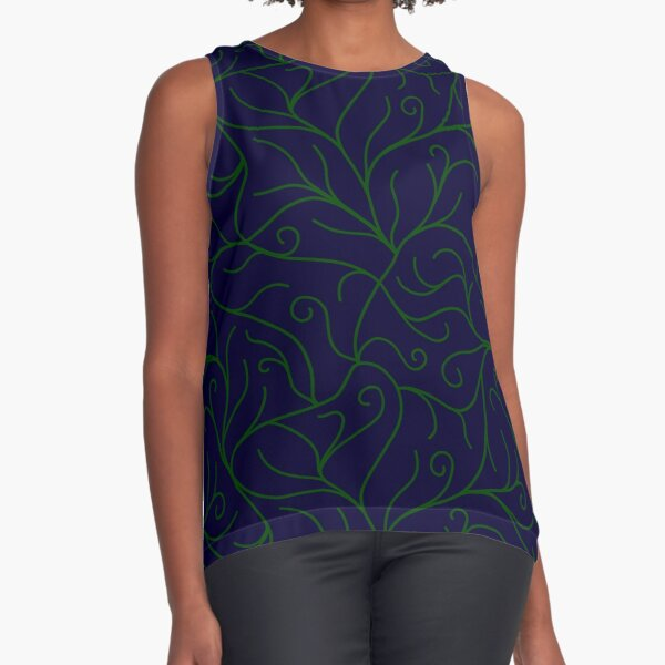 Blue Velvet, Green Vines Sleeveless Top