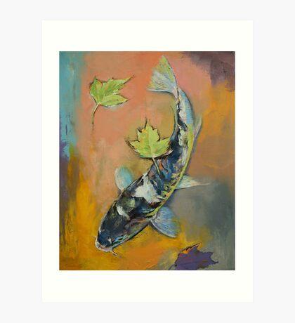 Koi with Japanese Maple Leaves Art Print