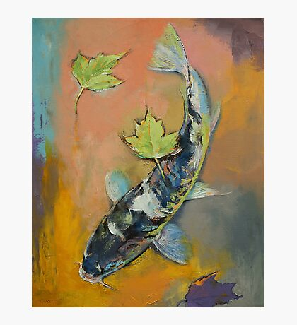 Koi with Japanese Maple Leaves Photographic Print
