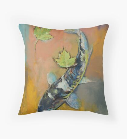Koi with Japanese Maple Leaves Throw Pillow