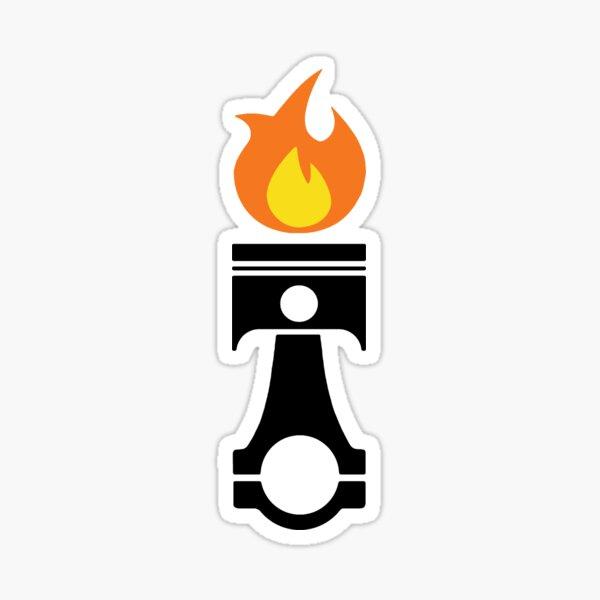 Pistón llameante (negro fuego) Pegatina