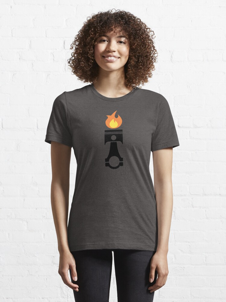 Alternate view of Flaming Piston (fire black) Essential T-Shirt
