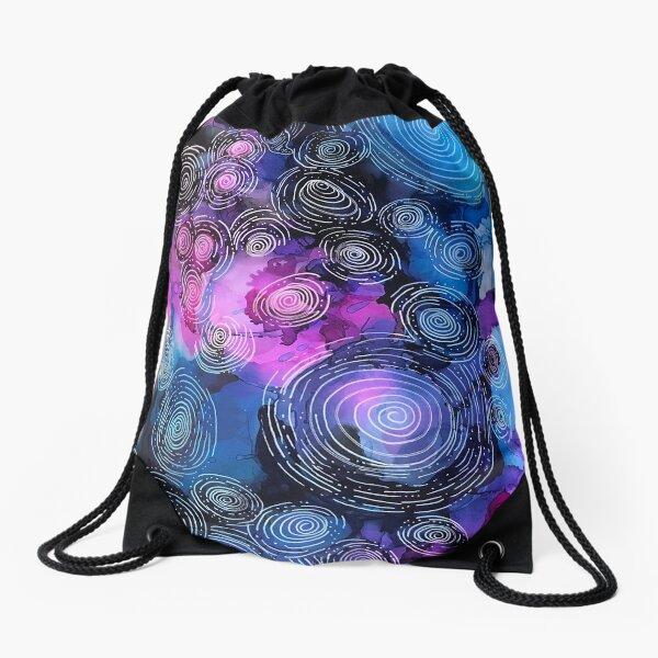 Blue Pink Circles in motion  Drawstring Bag