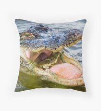 Gator Eating Crab Throw Pillow
