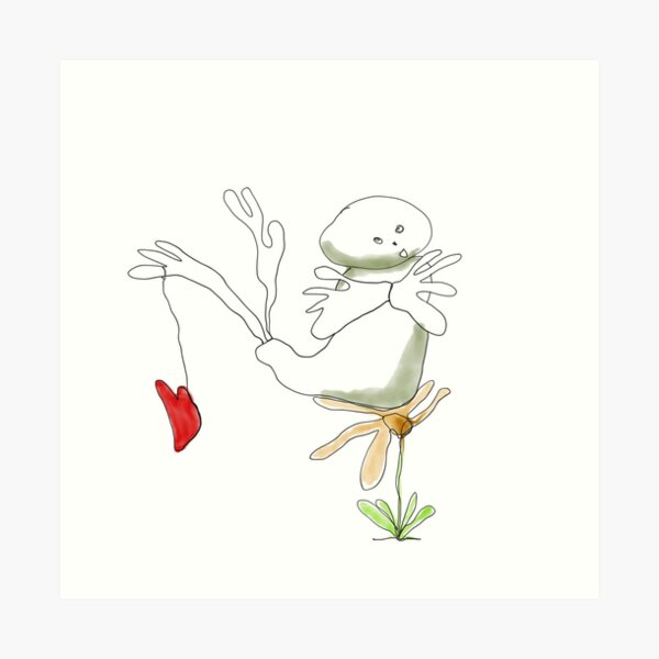 Happy funny lovable creature on yellow flower with red heart Art Print
