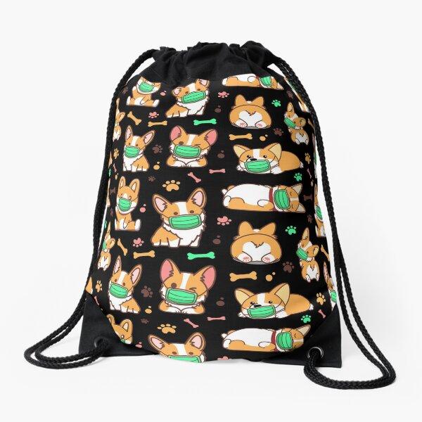 Corgi Quarantine Funny Drawstring Bag