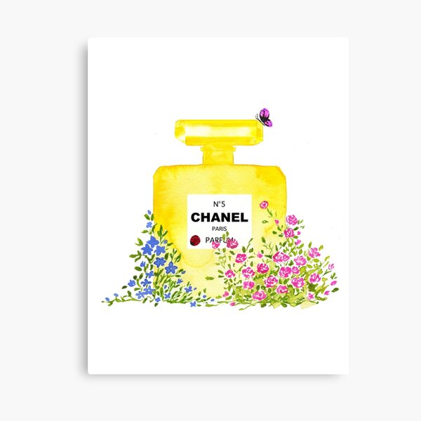 Yellow Perfume - Watercolor Fashion iIllustration  Canvas Print