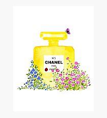 Yellow Perfume - Watercolor Fashion iIllustration  Photographic Print