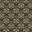 Black Gold & Diamonds Pattern Look Vintage Damasks by artonwear