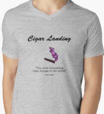 Cigar Landing T-Shirt, New York City Cigar Lounge Men's V-Neck T-Shirt