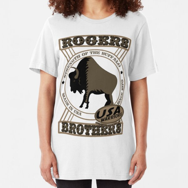 usa warriors buffalo by rogers bros Slim Fit T-Shirt