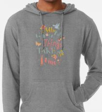 All Good Things - Hand Lettering Inspiring Quote Lightweight Hoodie