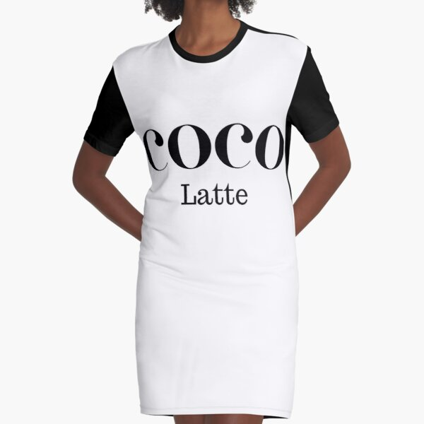 COCO Latte - For the Fashionable Coffee Lover Graphic T-Shirt Dress