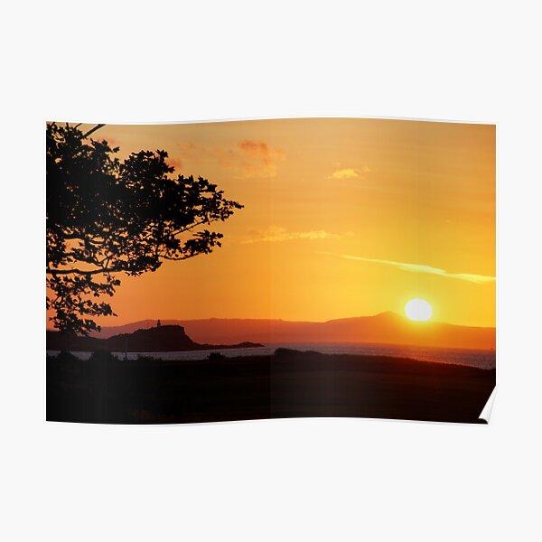 Sunset and Fidra Island Poster