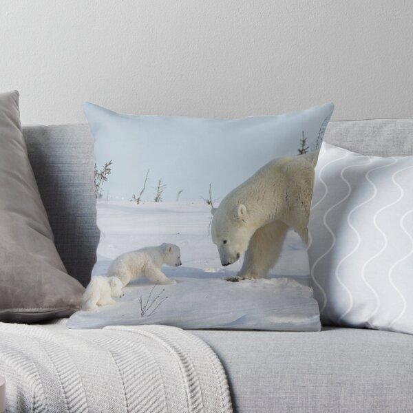 Mother polar bear watching over her two newborn cubs Throw Pillow