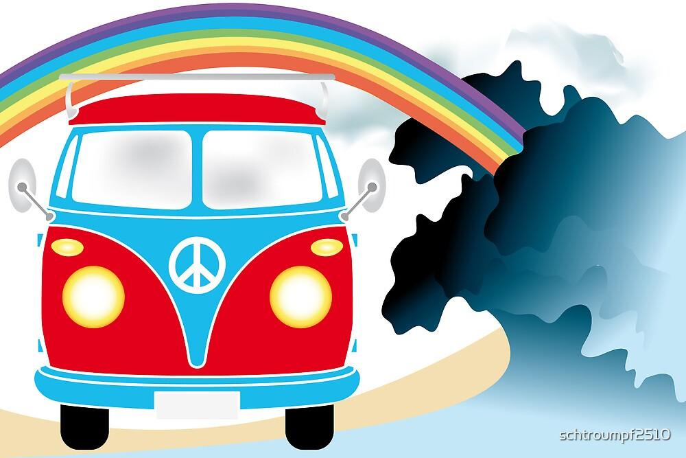 VW T1 van on the beach under rainbow by schtroumpf2510