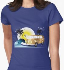 VW T1 on the beach Womens Fitted T-Shirt