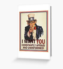 Uncle Sam Fear & Ignorance Greeting Card